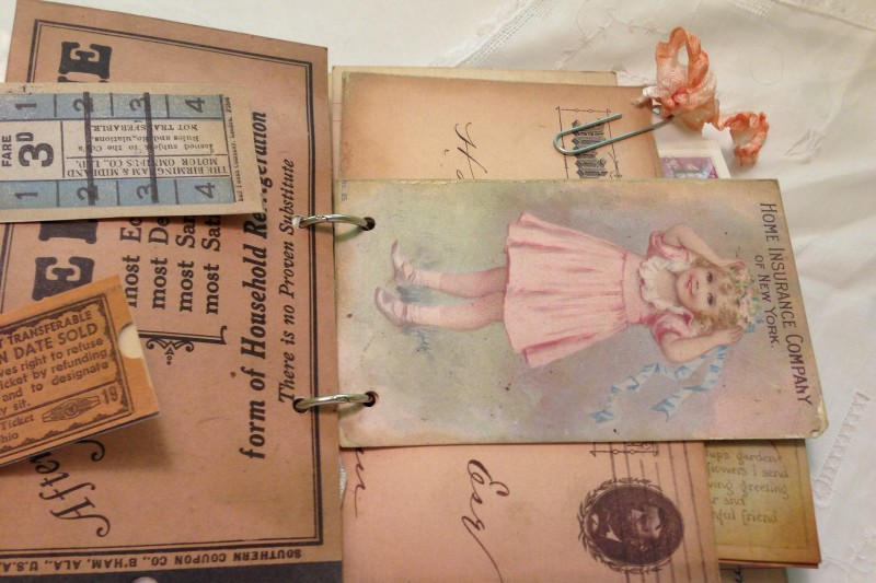 vintage ephemera scrapbook mini